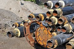 Rusty steel pipe with heat insulation Royalty Free Stock Photo