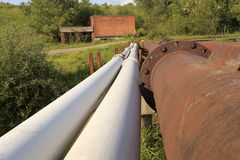 Rusty steel pipelines Royalty Free Stock Photo