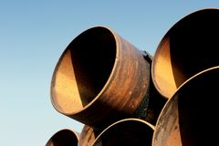 Rusty steel pipes. A set of large, used and rusting steel pipes Stock Photos