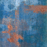 Rusty steel plate with blue paint Stock Photography