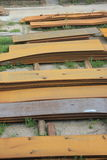 Rusty steel plate in factory royalty free stock photo