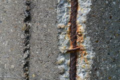 Rusty steel rebars in old concrete Royalty Free Stock Images