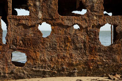 Rusty Steel Shipwreck Textured Surface-Zusammenfassungs-Hintergrund Stockbild