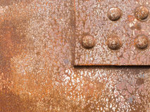 Rusty steel surface iron riveted texture pattern Stock Images