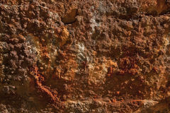 Rusty Steel Textured Surface Abstract Background. A heavily rusted and eroded steel surface found on the side of a shipwreck Royalty Free Stock Photos