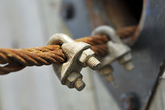 Rusty steel wire rope cable Stock Photo