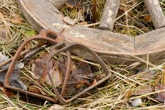 Rusty stirrups lying next to a wooden wheel Royalty Free Stock Photos