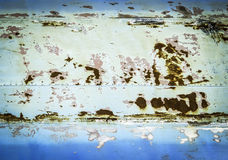 Rusty surface on aged blue matal Stock Photo