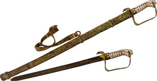 Rusty Sword en Schede die op Witte Achtergrond wordt geïsoleerd Royalty-vrije Stock Fotografie