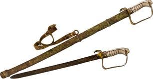 Rusty Sword y envoltura aislados en el fondo blanco Fotografía de archivo libre de regalías
