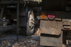 Rusty taillight on back of old truck. Royalty Free Stock Photo