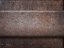 Rusty tank armor metal texture with rivets as Royalty Free Stock Photography