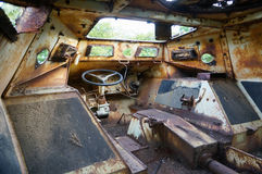 Rusty Tank interior. Captured from the Americans during the Vietnam war Stock Photography