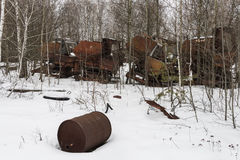 Rusty Thresher in Chernobyl Royalty Free Stock Images