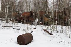 Rusty Thresher in Tschornobyl lizenzfreie stockbilder