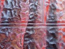 Rusty Tin Background Paint Abstract nero rosso Fotografia Stock