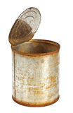 Rusty tin can. With top opened isolated on white background Royalty Free Stock Photo