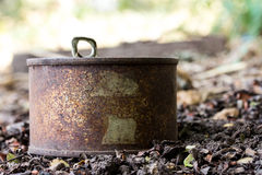 Rusty tin can. It is a background Stock Images