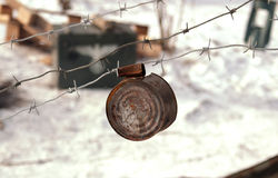 Rusty tin can on the barbed wire Royalty Free Stock Photography