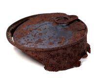 Rusty tin can isolated on white background. Selective focus Stock Image
