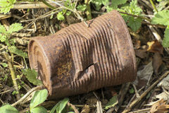 Rusty tin can lying in stinging nettles Royalty Free Stock Image