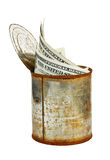 Rusty tin can with US currency Stock Photo