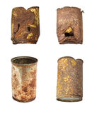 Rusty tin cans arranged Stock Photo