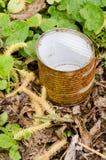 Rusty tin in grass stock image