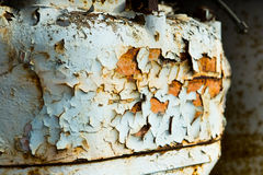 Rusty tractor fuel tank with peeling paint Royalty Free Stock Photography