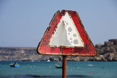 Rusty traffic warning sign Stock Photo