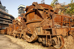 Rusty train at abandoned steel mill Stock Photography
