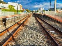 Rusty Train Tracks paralelo, Perth, Australia occidental fotos de archivo