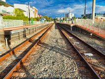 Rusty Train Tracks parallèle, Perth, Australie occidentale photos stock