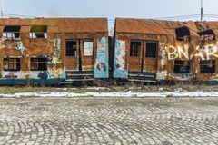 Rusty train wagons wreaked after an accident Royalty Free Stock Photography