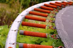 Rusty trampoline springs royalty free stock images