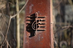 Rusty treble clef Stock Image