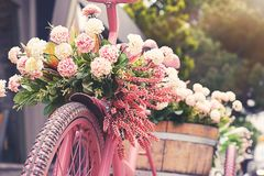 Free Rusty Tricycle Bike With Flower Pot In Tray Against Stock Photos - 148678833
