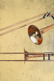 Rusty Trombones Royalty-vrije Stock Foto's