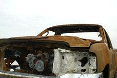 Rusty Truck. A rusty shell and engine of a truck that was in a fire Royalty Free Stock Photography