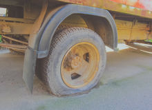Rusty truck with a broken wheel a bad day Stock Photos