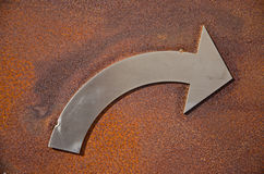 Rusty turn right sign Royalty Free Stock Photo