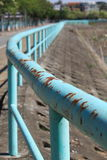 Rusty Turquoise Railing Fotografía de archivo