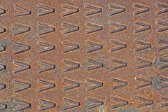 Rusty used metal diamond plate Royalty Free Stock Photo