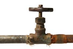 Rusty valve. Isolated on white background stock photo