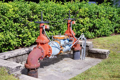 Rusty valves and handle. A device that regulates, directs or controls the flow of a fluid. taken in florida Stock Photography