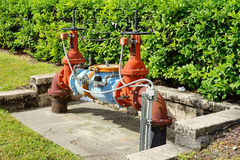 Rusty valves and handle. A device that regulates, directs or controls the flow of a fluid. taken in florida Stock Images
