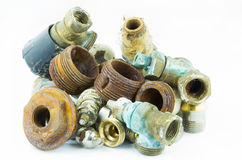 Rusty valves and threads royalty free stock photos