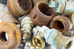 Rusty valves and threads Royalty Free Stock Image