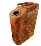 Rusty vintage gas can isolated. A rusty red vintage gas can isolated on white with a clipping path stock images