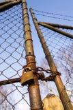 Rusty vintage metallic padlock hangs on wire netting gate. Rusty vintage metallic padlock hangs on old wire netting gate Stock Photo